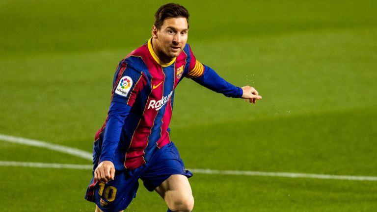 Leo Messi festeja una anotación con el Barcelona