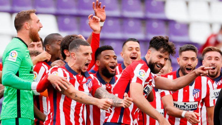 Jugadores del Atlético de Madrid, en festejo de gol