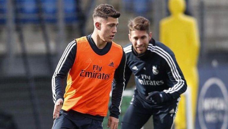 Cristo González durante un entrenamiento con el Real Madrid