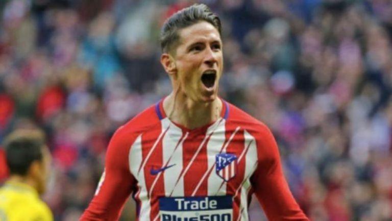 Torres celebrando un gol con el Atleti
