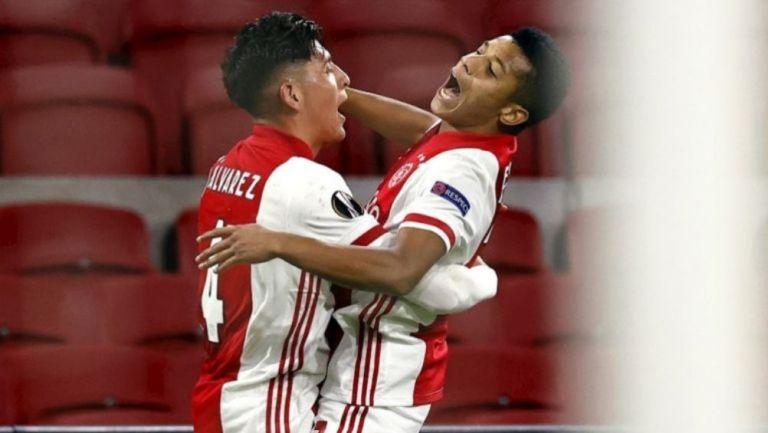 Álvarez y Neres celebran gol vs Lille