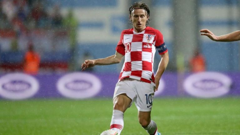 Luka Modric en acción con Croacia
