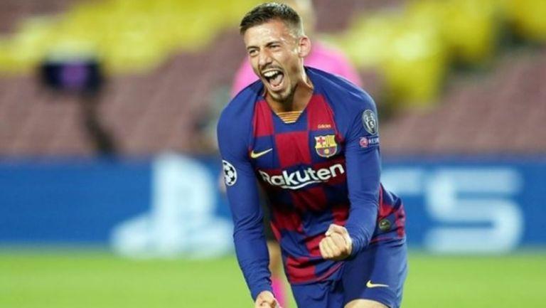 Clément Lenglet en acción con el Barcelona
