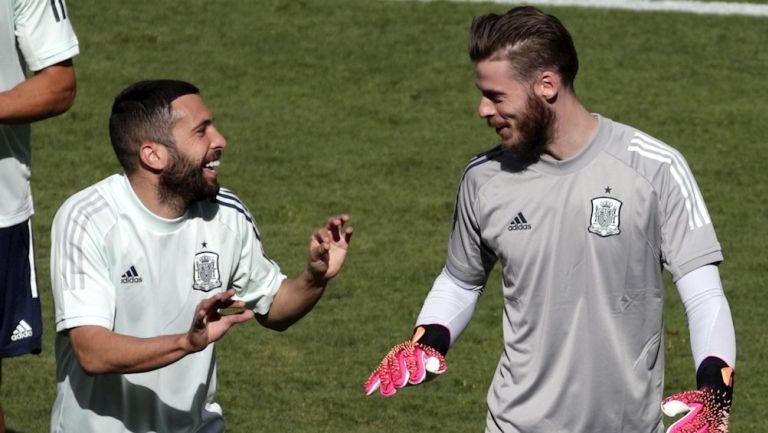 Jordi Alba junto a De Gea en un entrenamiento de España
