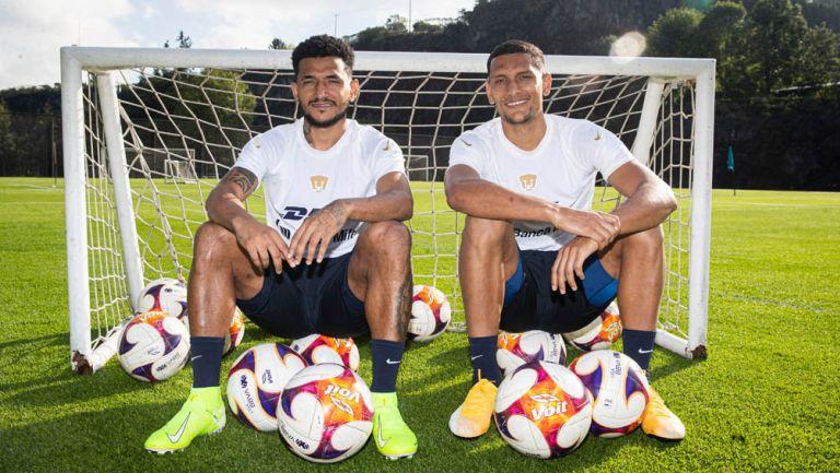 Rogerio de Oliveira e Higor Meritao, en práctica de Pumas