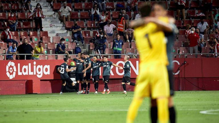 Jugadores del Rayo celebran gol vs Girona