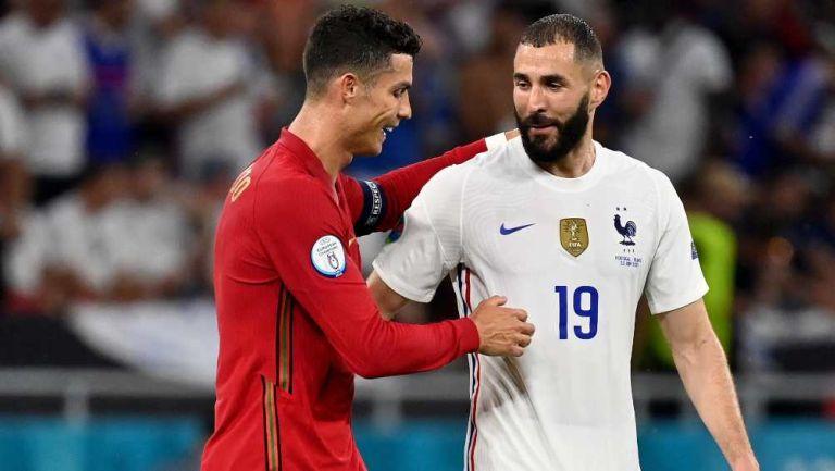 Benzema y Cristiano en saludo