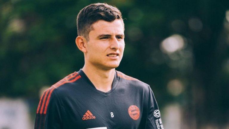 Manuel Aguilar en un entrenamiento con el Bayern Munich