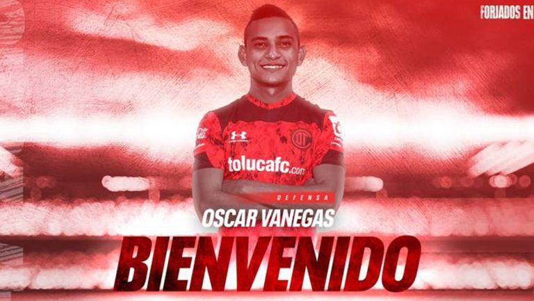Óscar Vanegas, presentado con Toluca