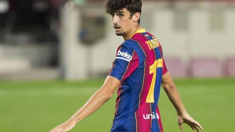 Trincao, en acción con el Barça