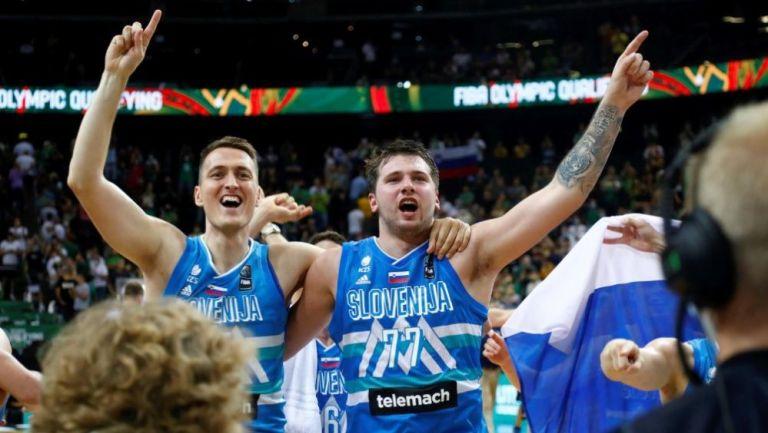 Luka Doncic en acción con Eslovenia