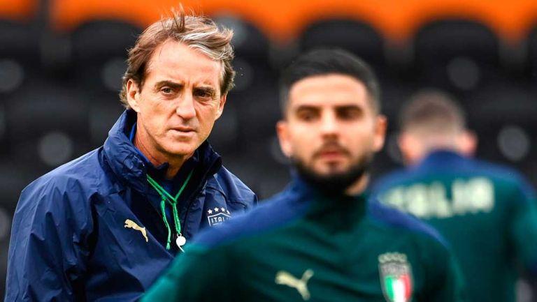Mancini, en un entrenamiento de Italia