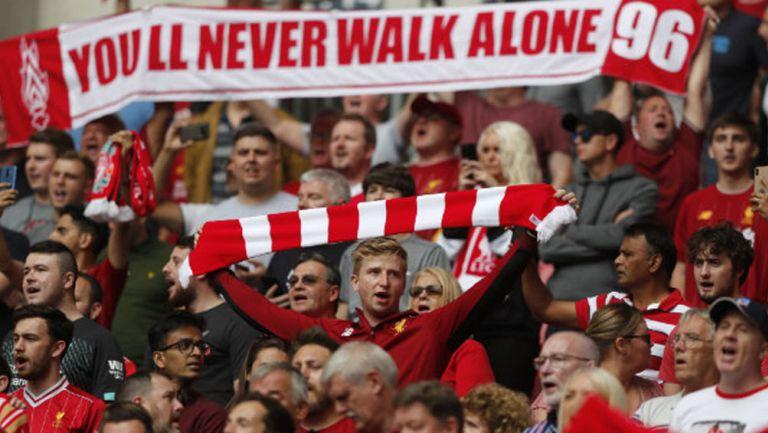 Aficionados del Liverpool en el estadio