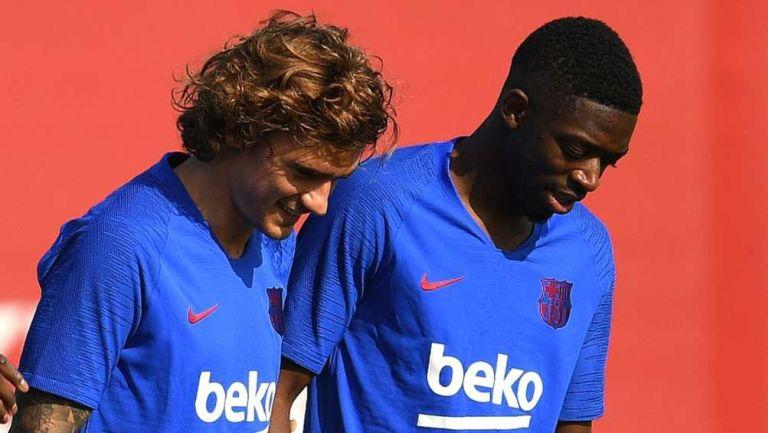 Griezmann y Dembélé en entrenamiento