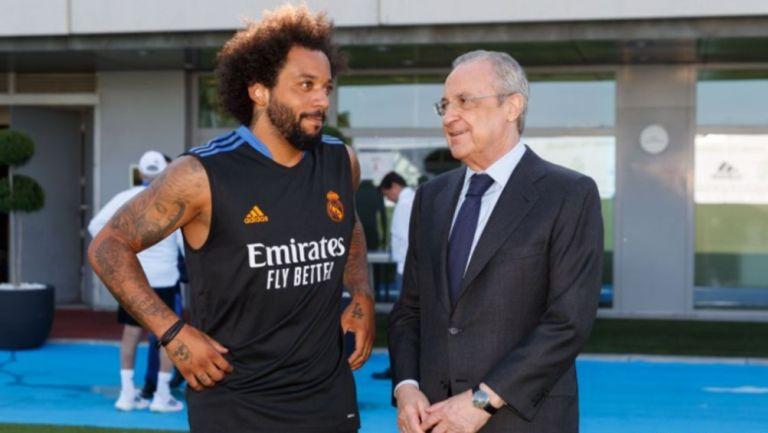 Marcelo Vieira y Florentino Pérez durante entrenamiento del Real Madrid