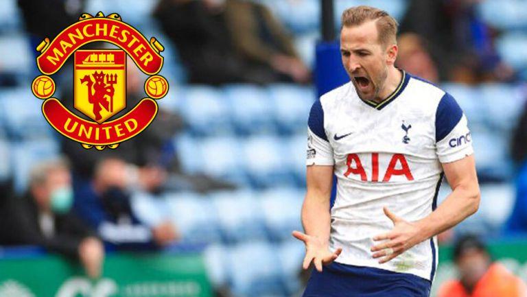 Harry Kane celebra gol en partido frente al Leicester City