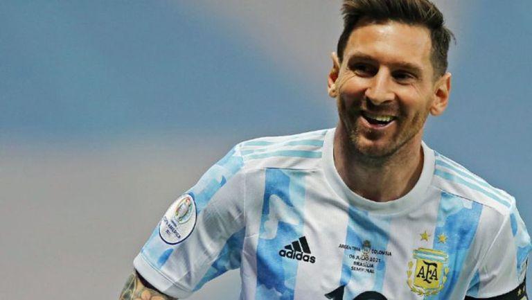 Messi celebra el campeonato con los Albicelestes