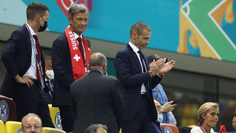 Aleksander Ceferin en un partido de la Eurocopa 2020