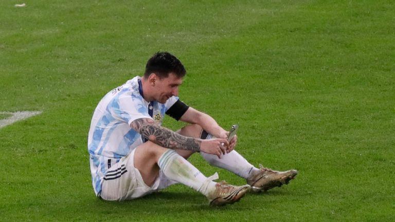 Lionel Messi en videollamada con su familia tras ganar la Copa América