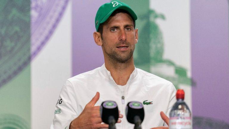 Novak Djokovic durante conferencia de prensa