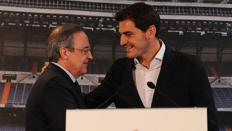 Florentino Pérez e Iker Casillas en el Real Madrid