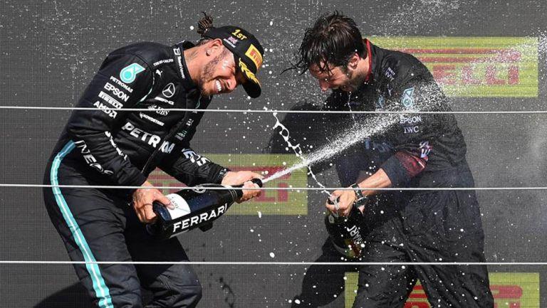 Hamilton, en festejo tras victoria