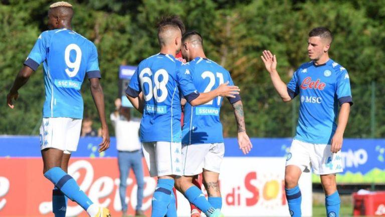 Jugadores del Napoli en festejo