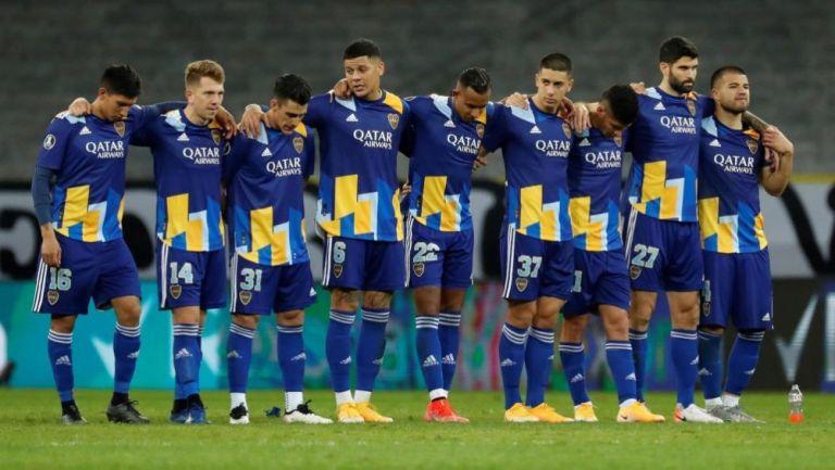 Jugadores de Boca Juniors en la tanda de penales