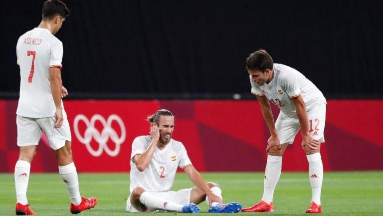 Jugadores de España en lamento ante Egipto