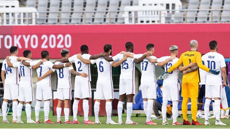 Jugadores de Francia previo al partido vs México