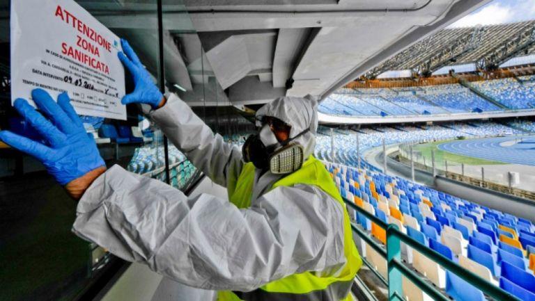 Sanitización del Estadio San Paolo, casa del Napoli