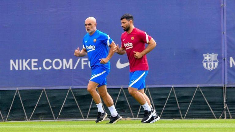 Sergio Agüero en las instalaciones del Barça