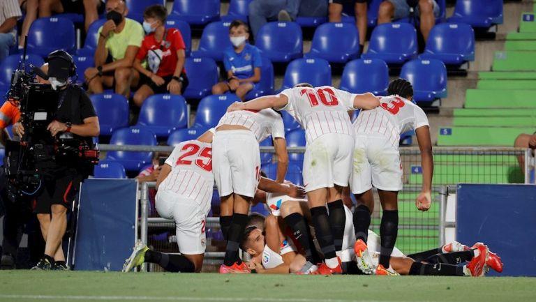 Jugadores del Sevilla celebran gol vs Getafe