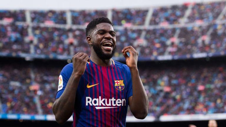 Samuel Umtiti celebra con el Barcelona
