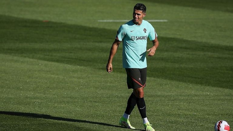 Cristiano Ronaldo durante un entrenamiento con Portugal