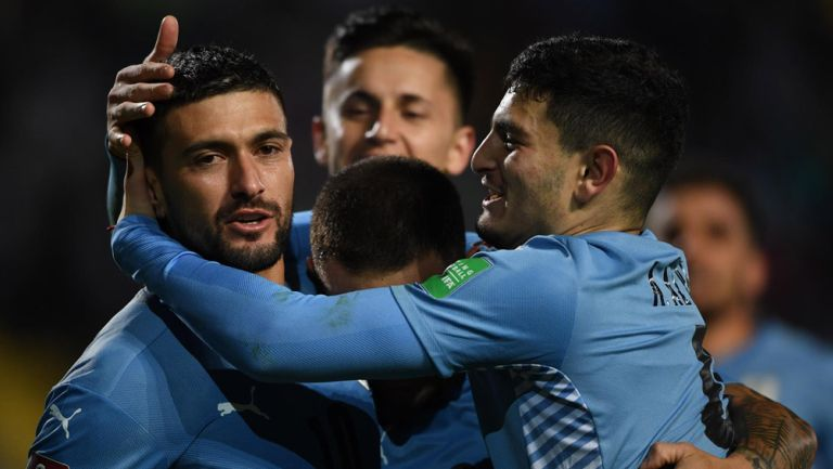 Uruguay en festejo de gol