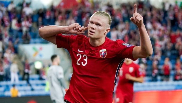 Haaland en un partido con Noruega