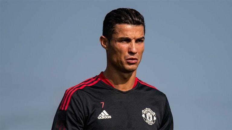 Cristiano Ronaldo en el entrenamiento de Manchester United