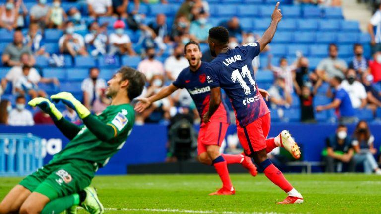 Lemar celebra anotación con el Atlético de Madrid frente al Espanyol