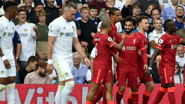 Mohamed Salah celebra anotación con el Liverpool frente al Leeds