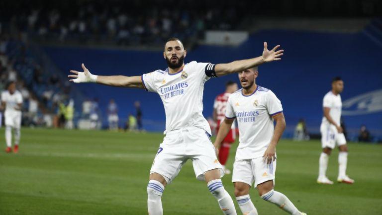 Karim Benzema celebra diana con el Real Madrid frente al Celta Vigo