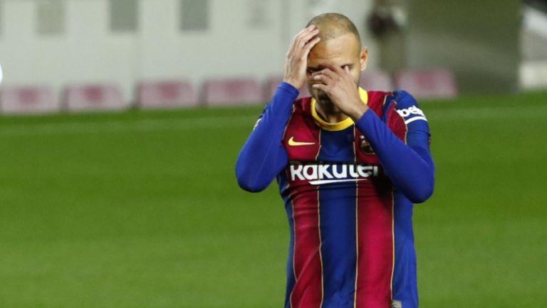 Martin Braithwaite reacciona durante partido con el Barcelona