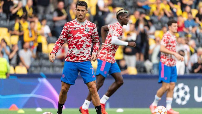Cristiano Ronaldo en el calentamiento del partido de Champions