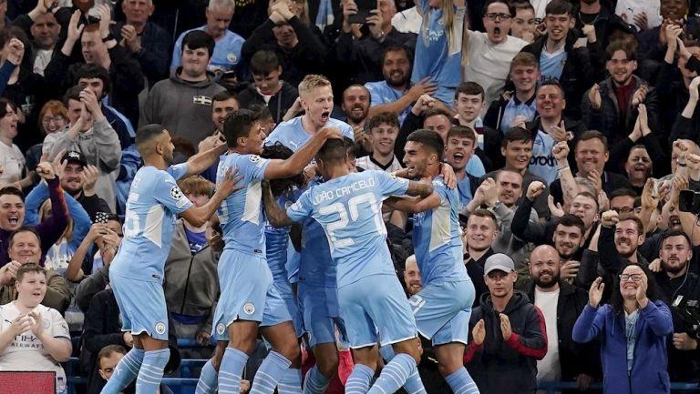 Jugadores del City celebrando un gol vs el Leipzig