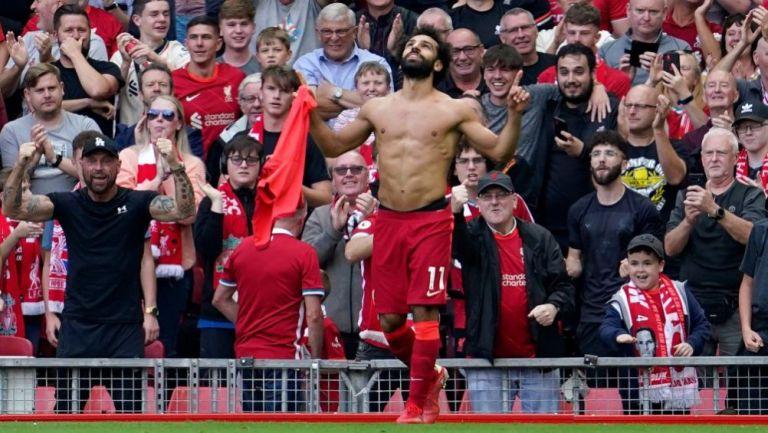 Mohamed Salah tras anotar gol a favor del Liverpool