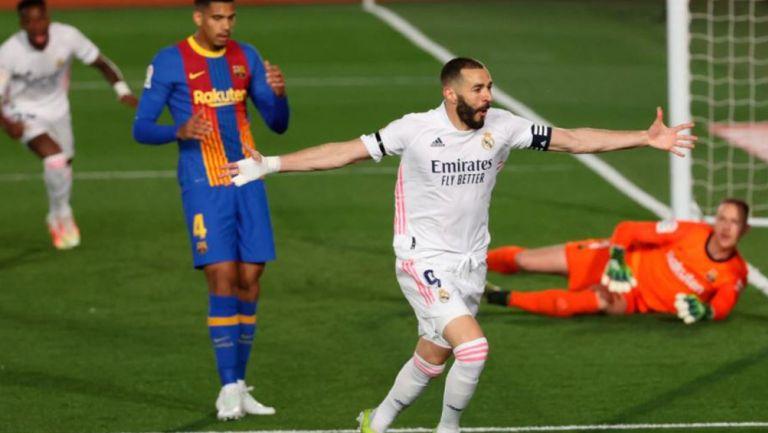 Benzema, en festejo de gol con Real Madrid