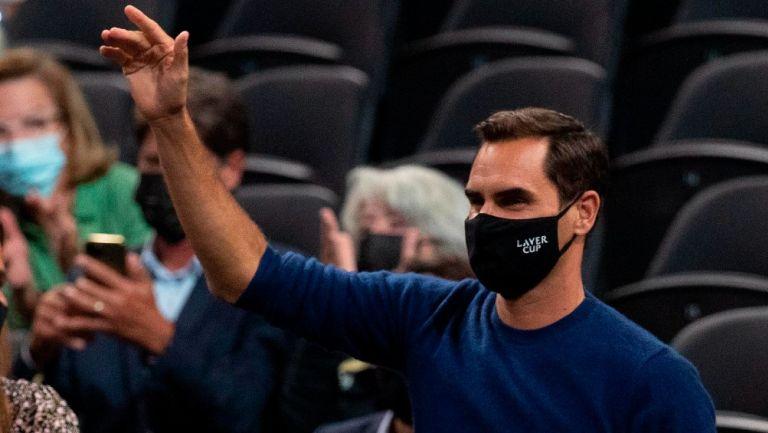 Roger Federer como espectador en la Laver Cup 2021
