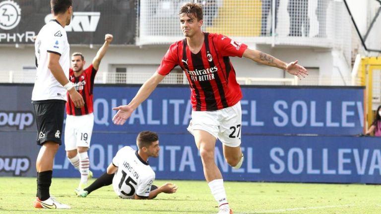 Daniel Maldini en festejo con Milan