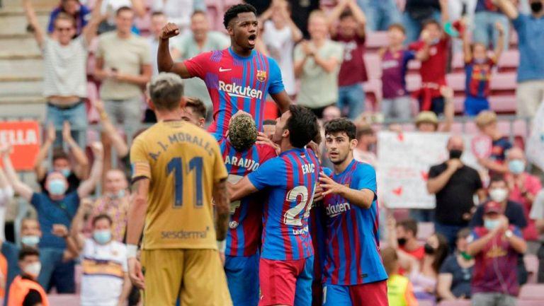 Ansu Fati en celebración de gol con Barcelona