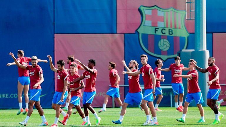 Jugadores del Barcelona durante un entrenamiento